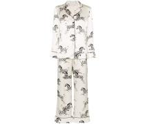 Seiden-Pyjama mit Zebra-Print