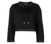 Cropped-Sweatshirt mit Kordelzug