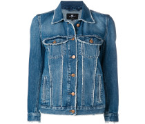Jeansjacke mit Distressed-Saum
