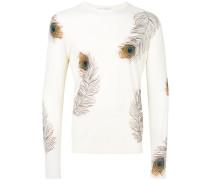 Pullover mit Pfauenfeder-Print