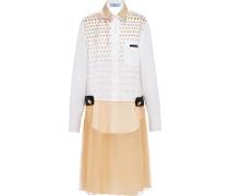 Popeline-Kleid mit Chiffon