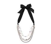 pearl-embellished chain necklace