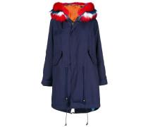 contrast fur hood parka coat