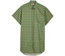 Equestrian Check Print Cotton Longline Shirt