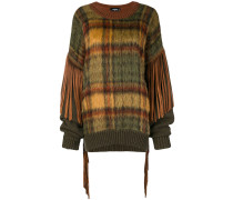 tassel-trimmed checked jumper