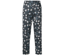 floral and stripe print high waist trousers