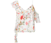 asymmetric ruffled floral-print top