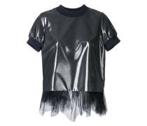 Metallic-T-Shirt mit Tüllsaum