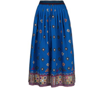 embroidered appliqué pleated skirt