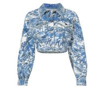 Cropped-Jeansjacke mit Print