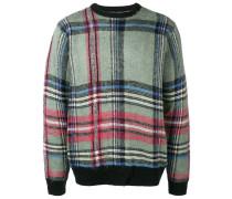 Karierter Pullover mit Kontrastbündchen