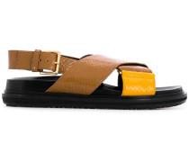 'Fussbett' Sandalen mit Pythonleder-Optik