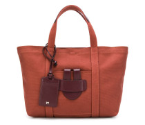 small leather trim tote