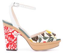Peeptoe-Sandalen mit Blumen