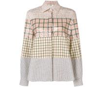 color block check shirt