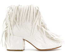 woven fringed ankle boots