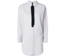 striped longline cravat shirt