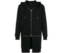 zip detailed hoodie