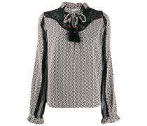 lace-trimmed jacquard blouse