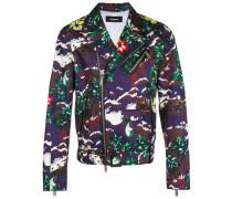 tropical print biker jacket