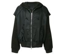 layered hooded bomber jacket