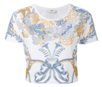 Cropped-T-Shirt mit Barock-Print