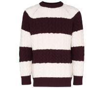 Gestreifter Pullover mit Zopfmuster