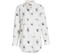 Triple Archive Logo Print Stretch Cotton Shirt