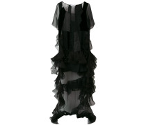 ruffle train panelled dress