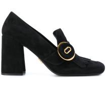 fringed block heeled loafers