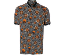 abstract and orange print polo shirt