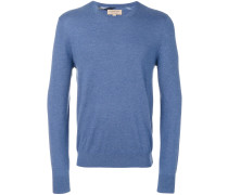 Check Jacquard Detail Cashmere Sweater