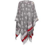 Grey Skull Print Wool Cape
