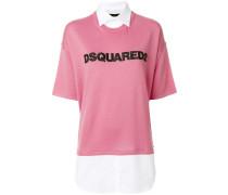 embroidered logo shirt-jumper