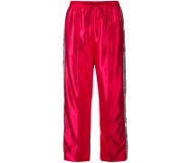 sequin stripes track trousers