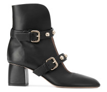 pointed buckled ankle boots