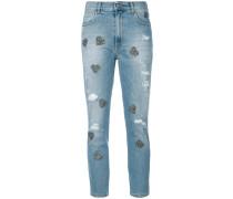 Cropped-Jeans mit Herzapplikationen