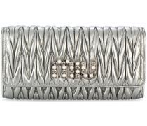 Metallic-Portemonnaie aus Matelassé-Leder