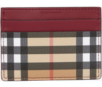 Vintage Check and Leather Card Case
