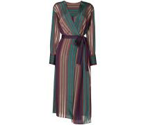 striped long wrap dress