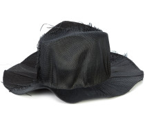 distressed-effect wide-brim hat