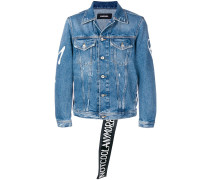 'Not cool anymore' print denim jacket