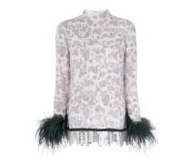 rabbit print feather-trim blouse