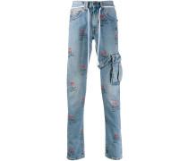 Gerade Jeans mit Logo-Print