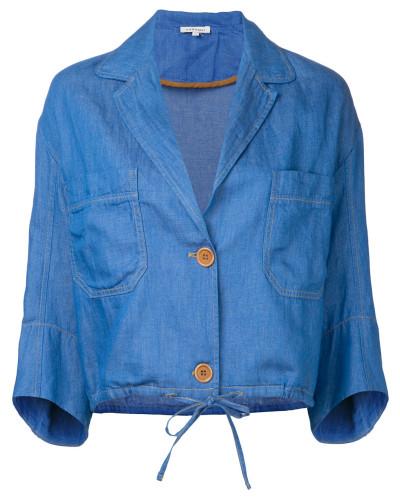 Cropped-Jeansjacke mit Kordelzugbund
