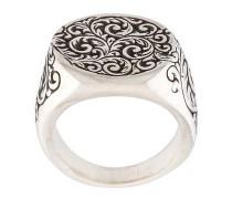 'Engraved Round Signet' Ring aus Sterlingsilber