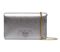 Silver Saffiano leather wallet on chain bag