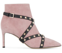 Suede studded strap ankle boots