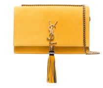 Yellow Kate Monogram Suede Shoulder Bag