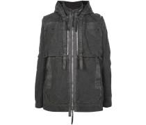 hooded multi-zip parka jacket